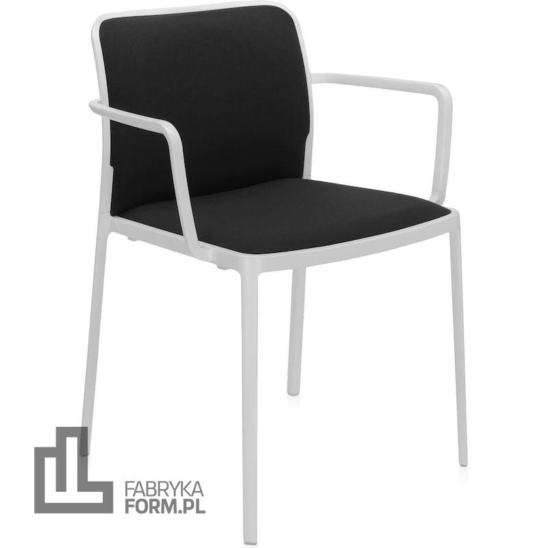 Krzesło Audrey Soft czarne z podłokietnikami biała rama