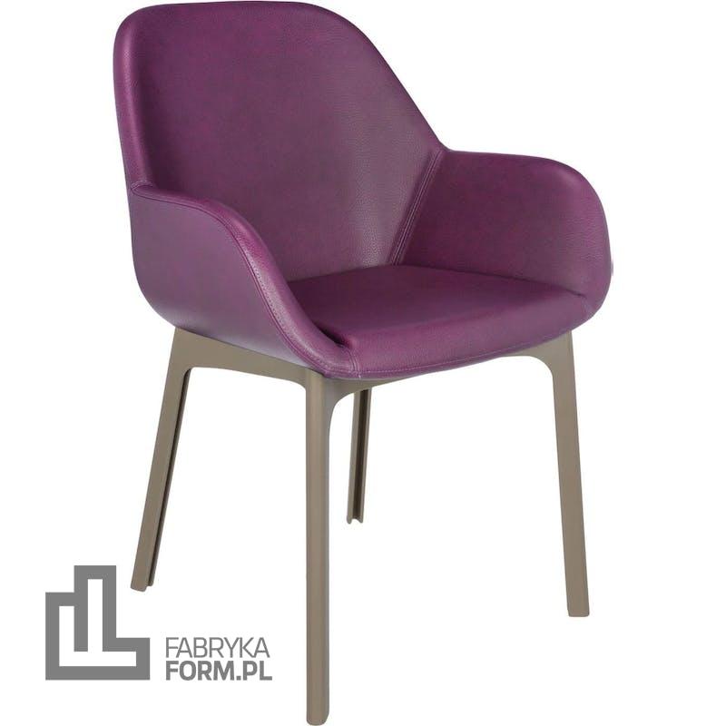 Krzesło Clap Eco Leather śliwkowe z taupe ramą