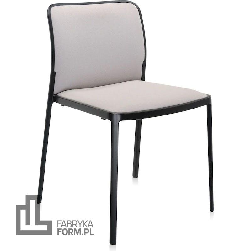Krzesło Audrey Soft beżowe z czarną ramą