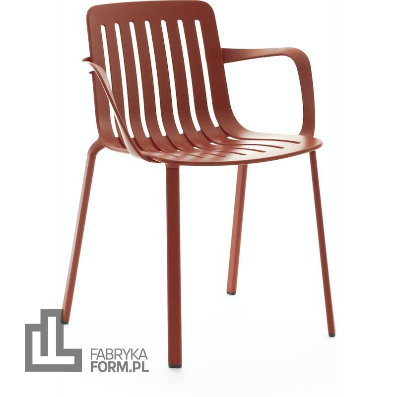 Krzesło Plato czerwone z podłokietnikami