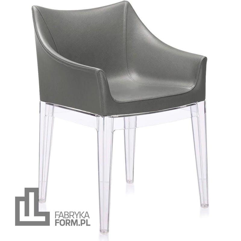 Fotel Madame ciemnoszary z przezroczystymi nogami