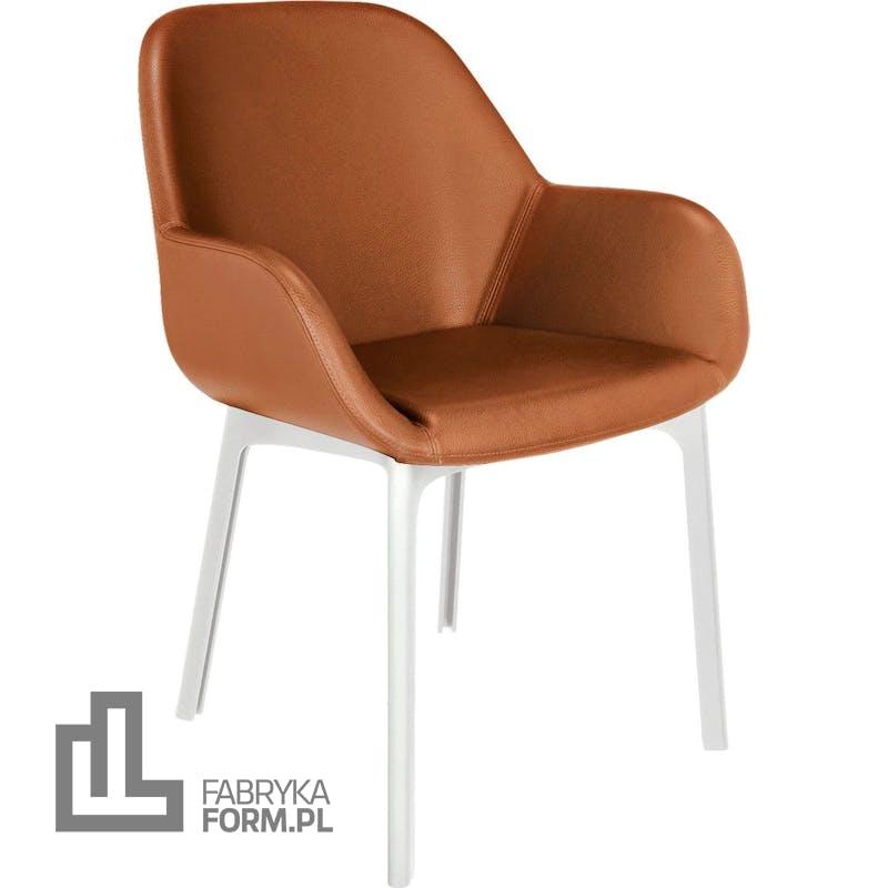 Krzesło Clap Eco Leather jasnobrązowe z białą ramą