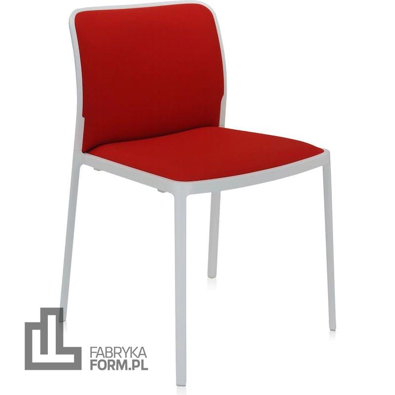 Krzesło Audrey Soft czerwone z białą ramą