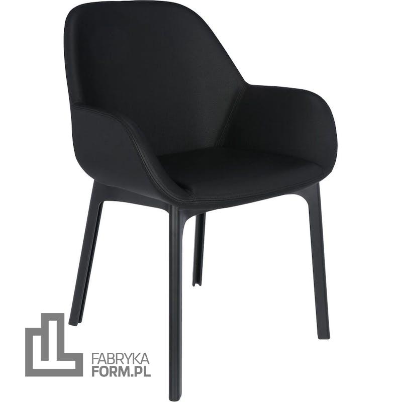 Krzesło Clap Eco Leather czarne z czarną ramą