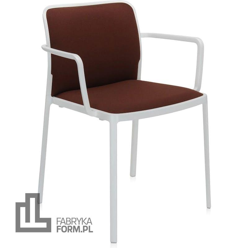 Krzesło Audrey Soft brązowe z podłokietnikami biała rama