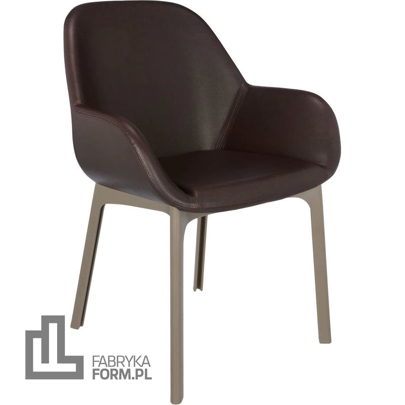 Krzesło Clap Eco Leather brązowe z taupe ramą