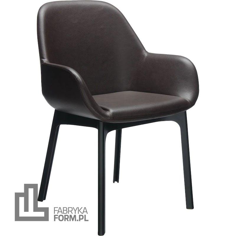 Krzesło Clap Eco Leather brązowe z czarną ramą