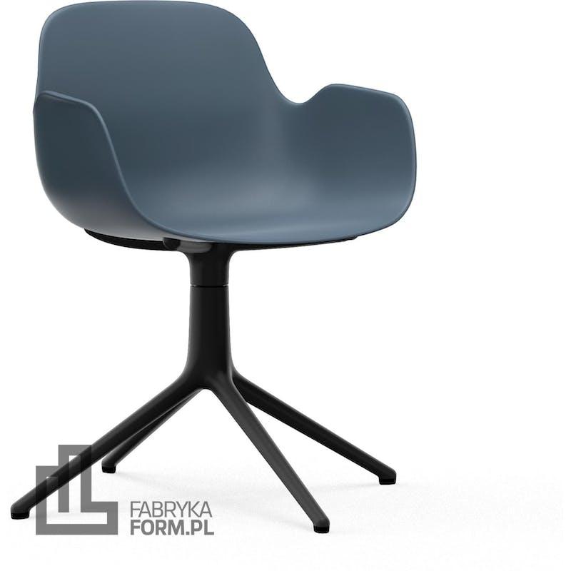 Fotel obrotowy Form Swivel 4L niebieski na czarnych aluminiowych nogach