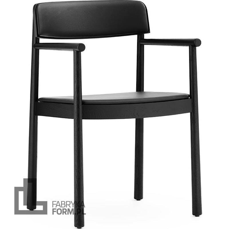 Krzesło Timb czarne z podłokietnikami tapicerowane