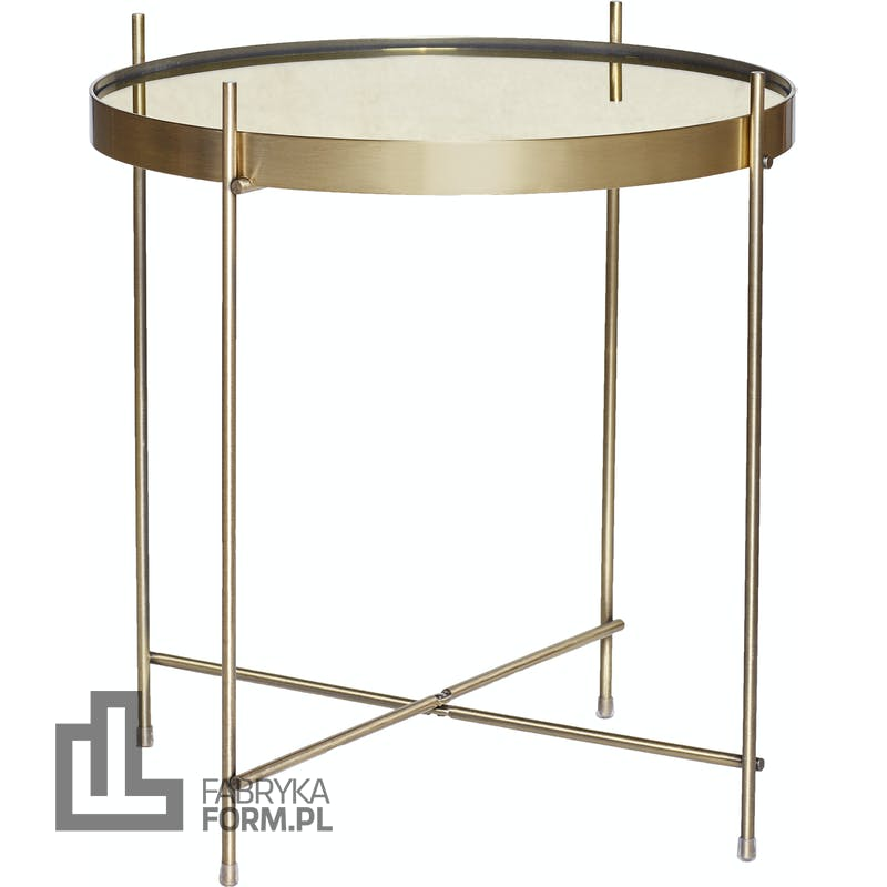 Stolik kawowy Hübsch metalowy ze złotym szklanym blatem