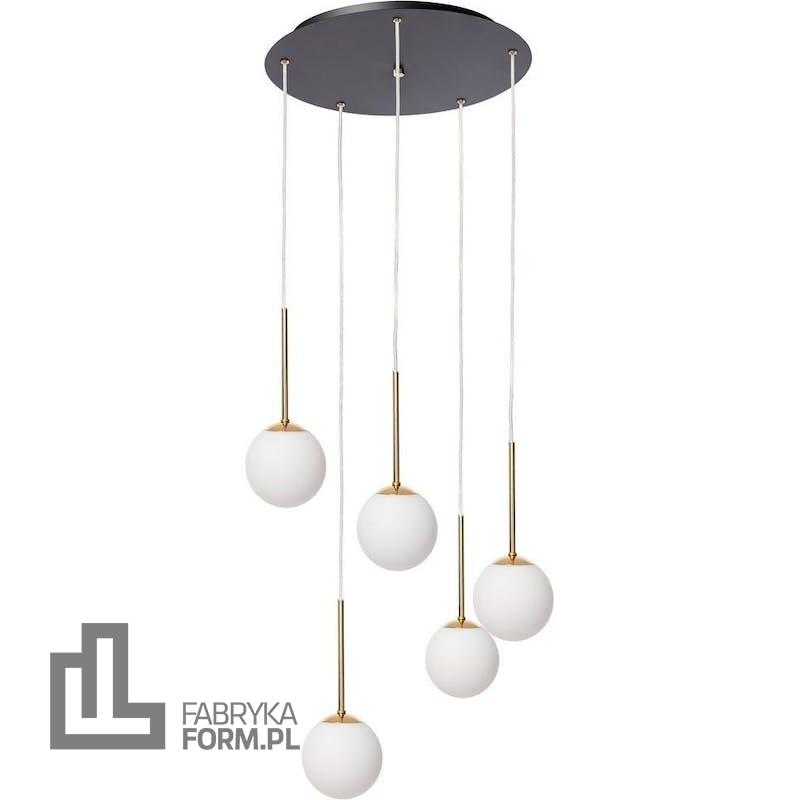 Lampa wisząca Lamia 5 czarno-złota z transparentnym przewodem