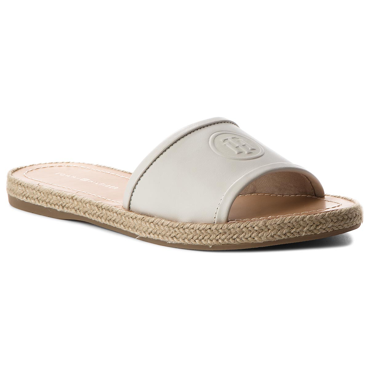 Espadryle TOMMY HILFIGER - Leather Flat Mule FW0FW02790 Whisper White 121