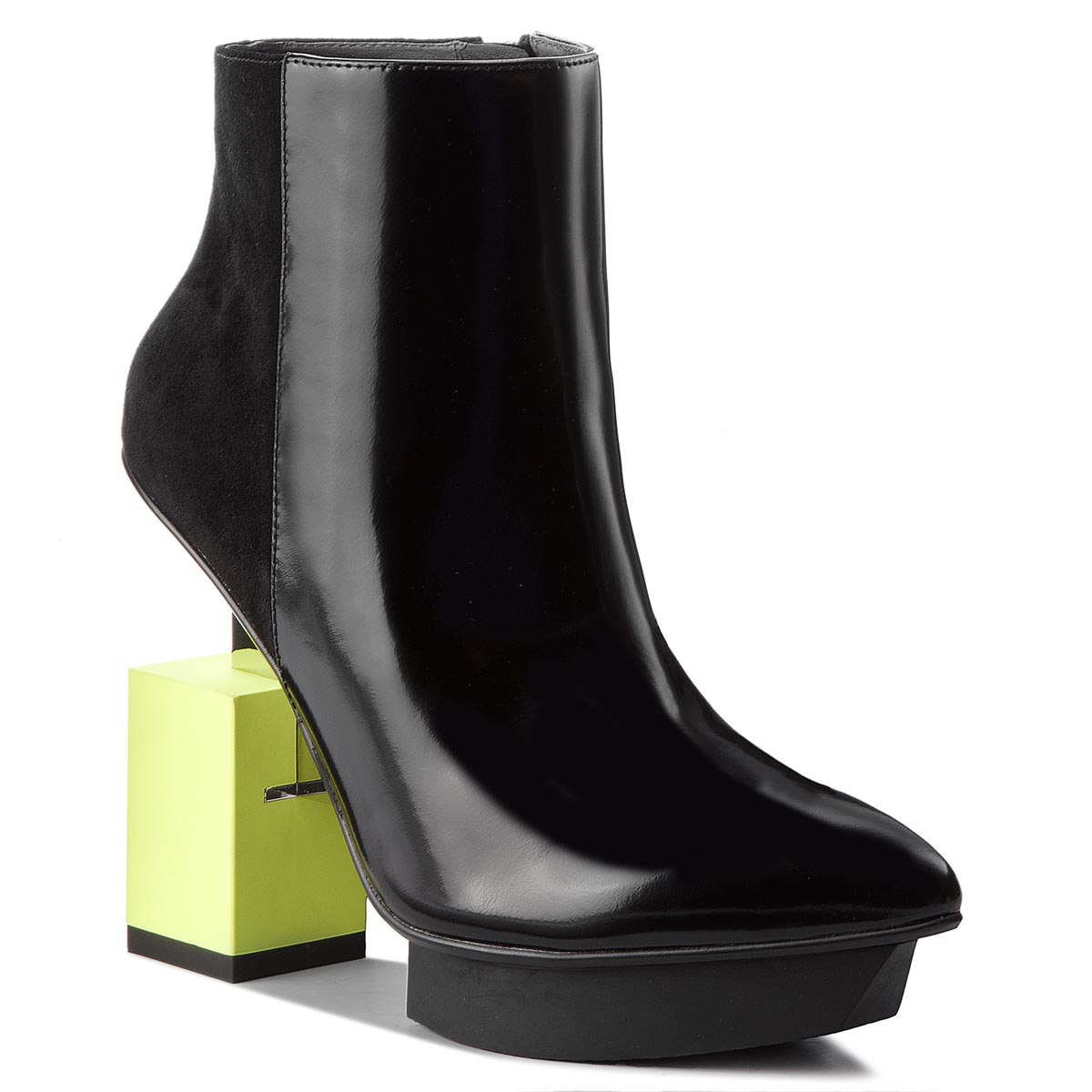 Botki UNITED NUDE - Cube Bootie 103410131811904 Black/Lime