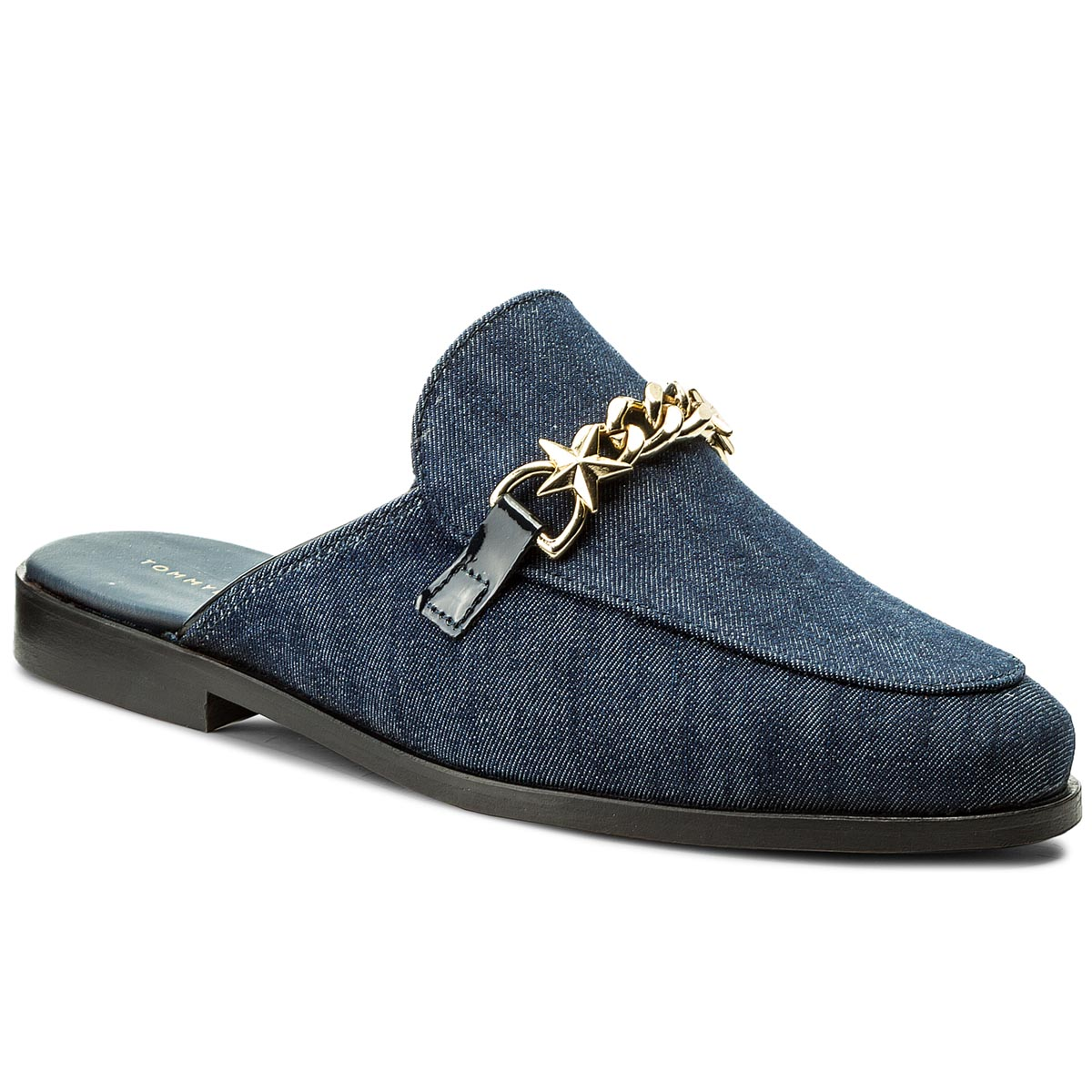 Klapki TOMMY HILFIGER - Feminine Denim Slip On Loafer Ch FW0FW02724  Tommy Navy 406