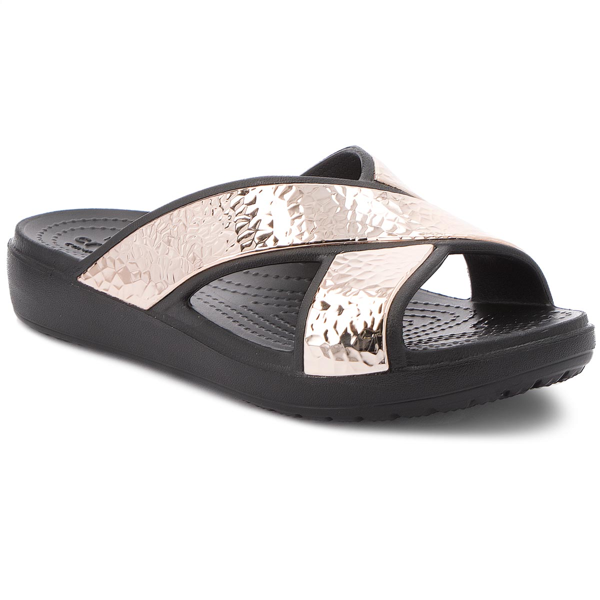 Klapki CROCS - Sloane Hammered Xstrp Slide W 205136 Black/Rose Gold