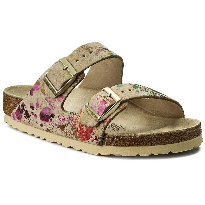 Klapki BIRKENSTOCK - Arizona 652801 Flower Crush Beige