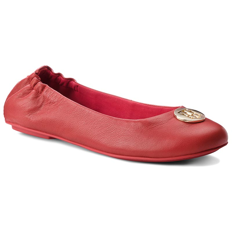 Baleriny TOMMY HILFIGER - Flexible Ballerina Leather FW0FW03401 Tommy Red 645