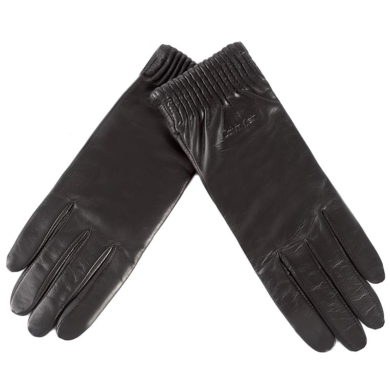 Rękawiczki Damskie CALVIN KLEIN BLACK LABEL - Leather Gloves K60K603517 001