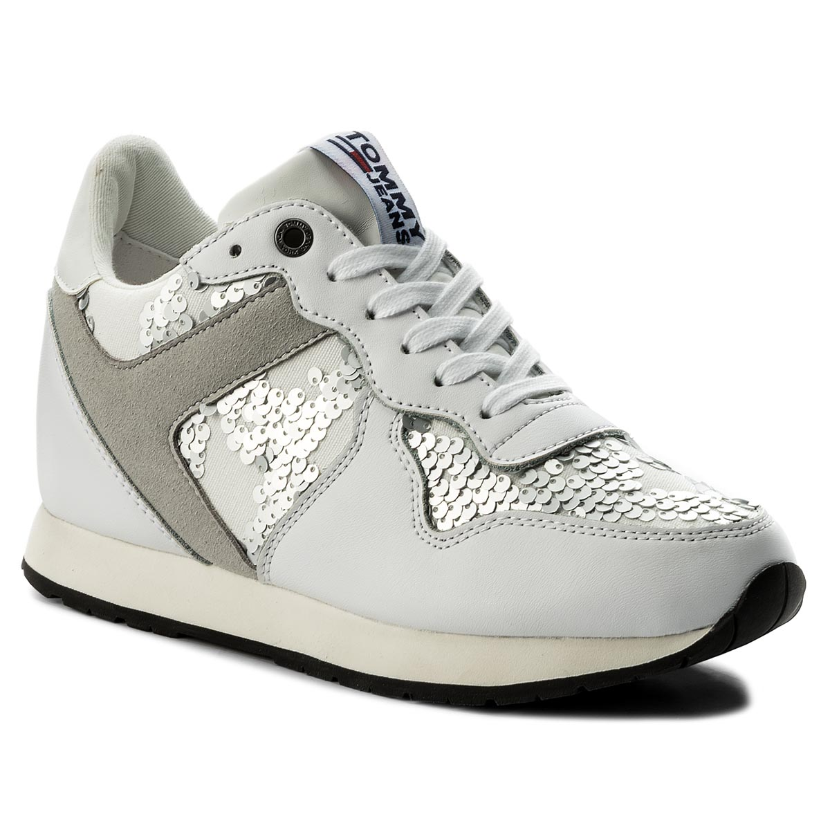 Sneakersy TOMMY JEANS - Tj Wedge Sequin Sneaker FW0FW03301 White 100