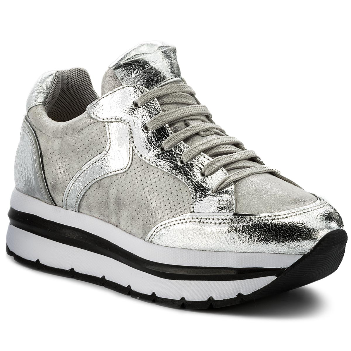 Sneakersy VOILE BLANCHE - Margot Star Crack Lame 0012012388.07.9165 Argento/Inox