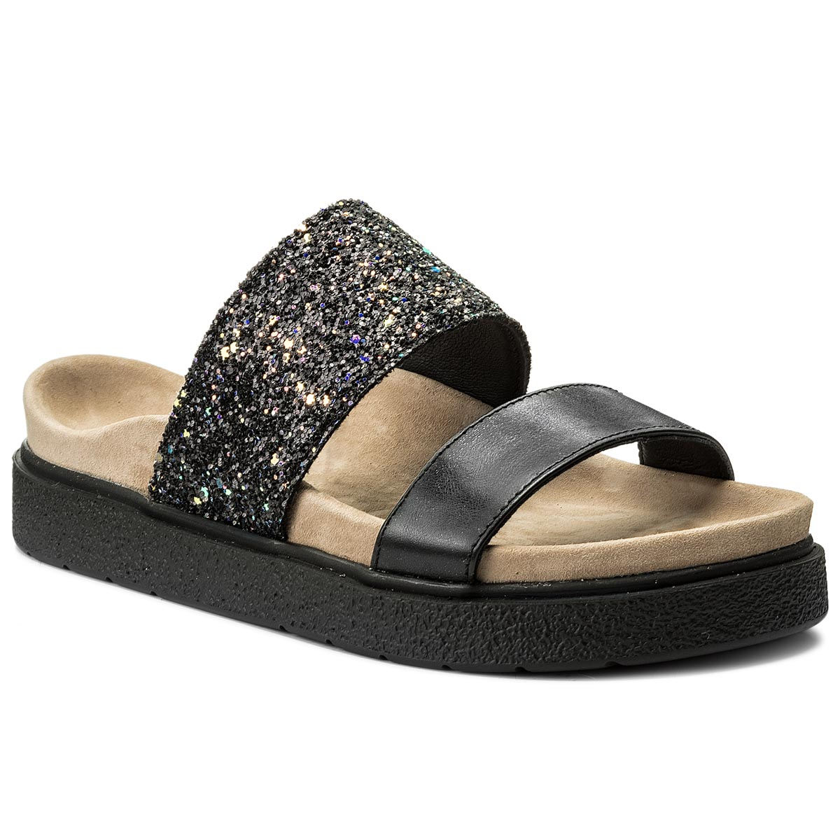 Klapki INUIKII - Double Band Glitter 2050  Black