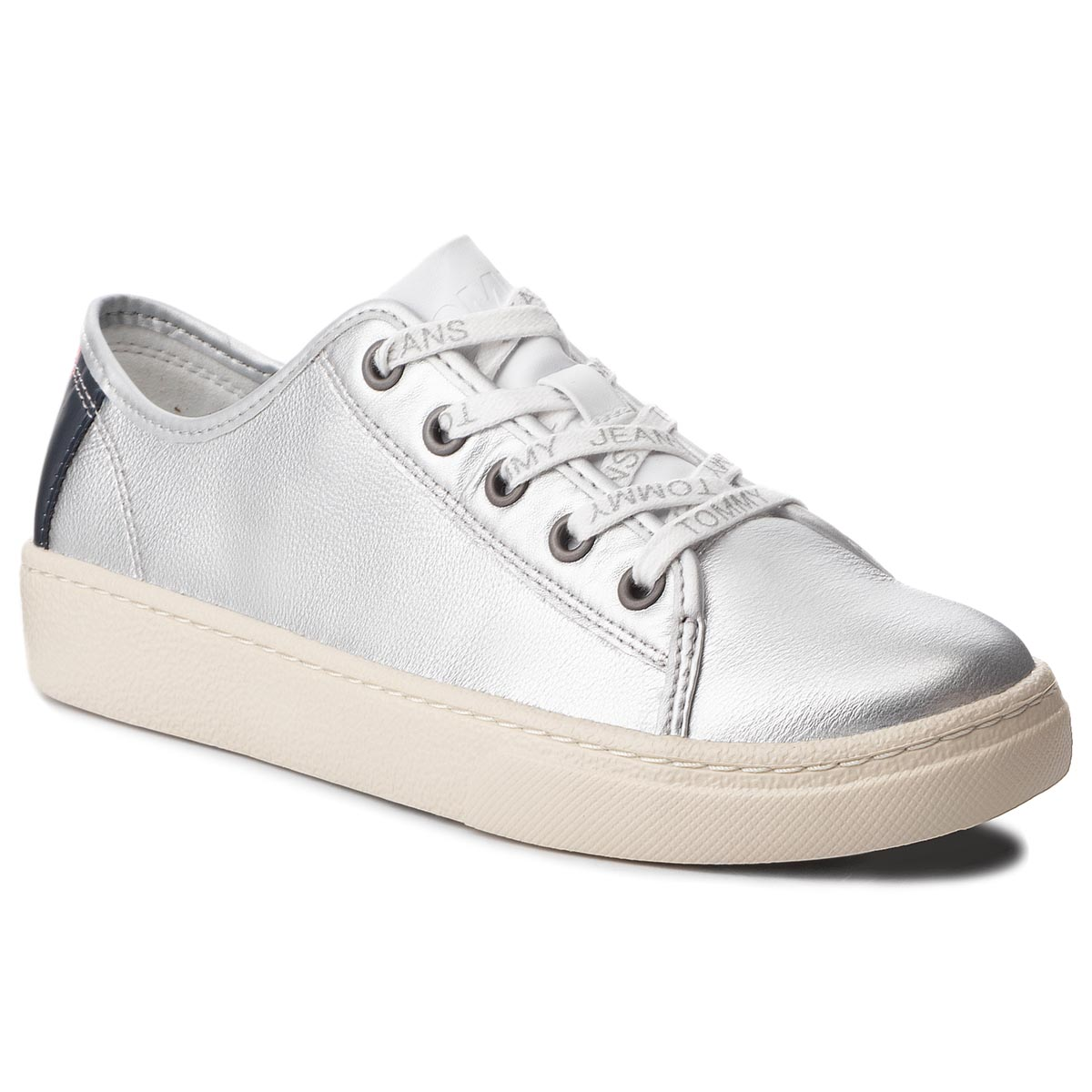 Sneakersy TOMMY JEANS - Light Leather Low EN0EN00230 Silver 000