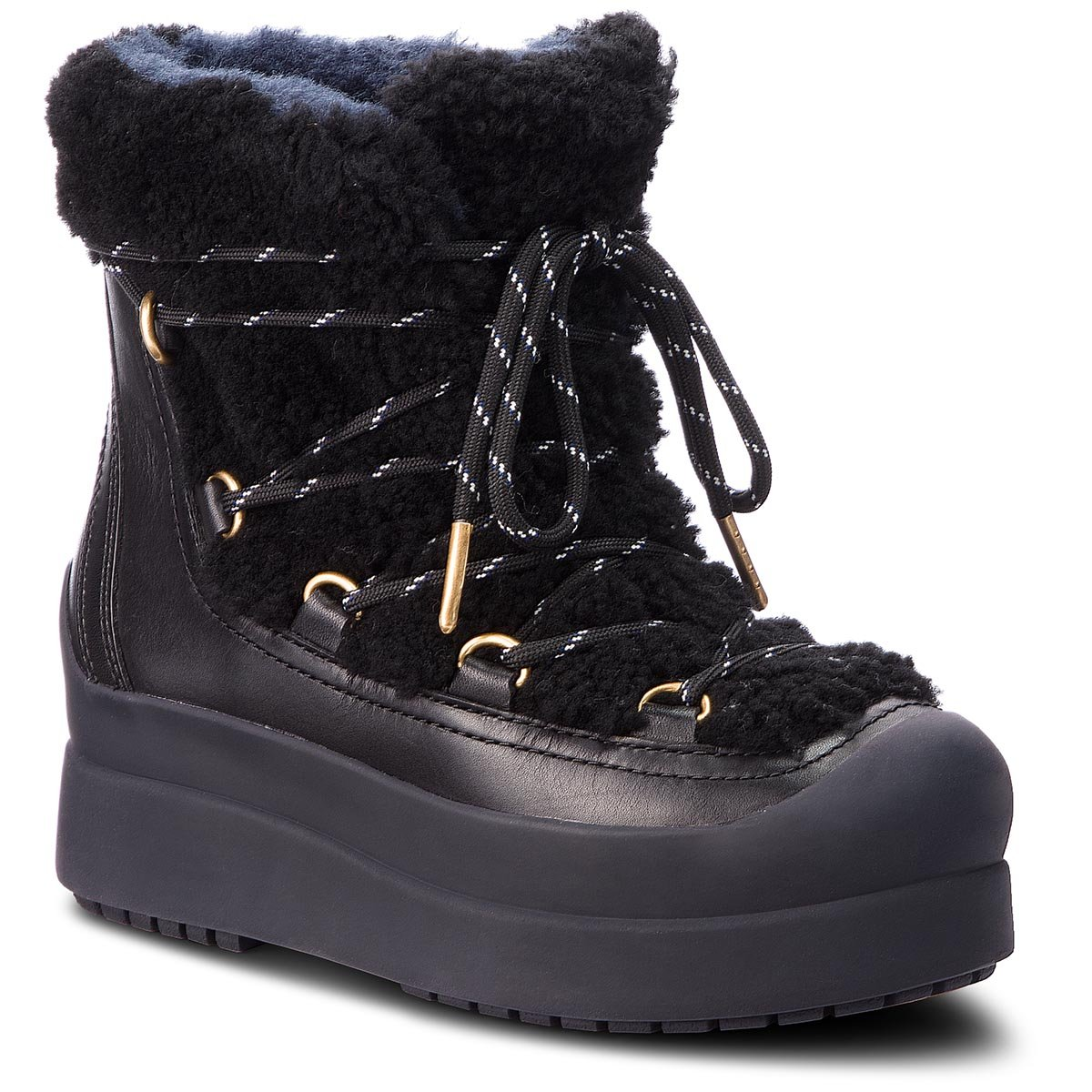 Buty TORY BURCH - Courtney 60Mm Shearling Boot 50059 Perfect Black/Perfect Black 004
