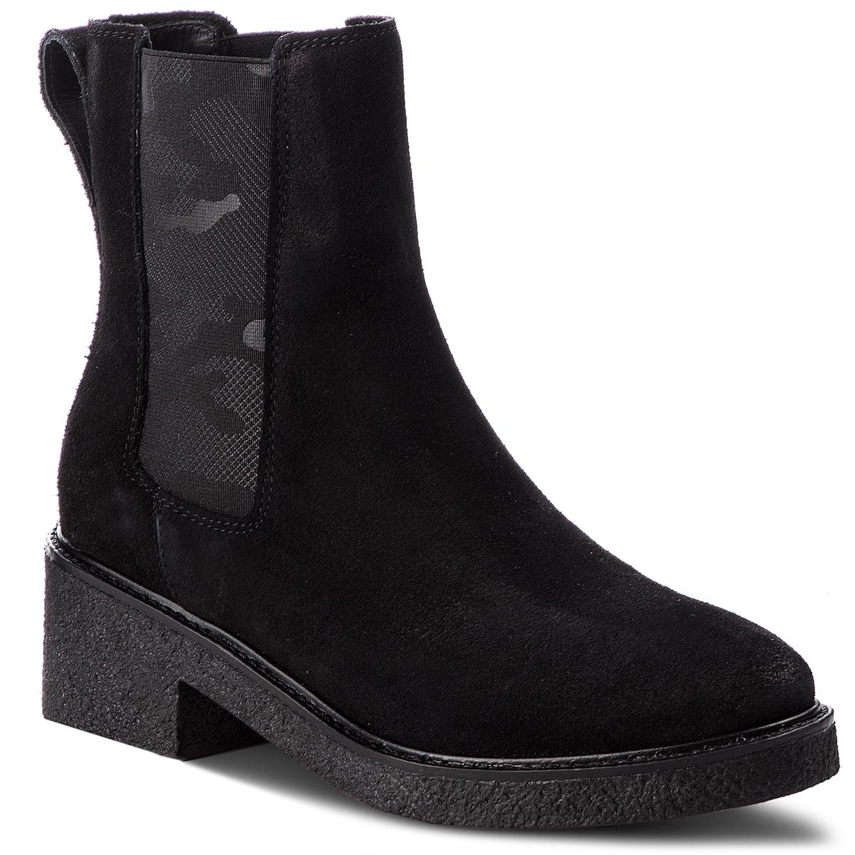 Botki TOMMY HILFIGER - Crepe Mid Heel Boot Suede FW0FW03046  Black 990