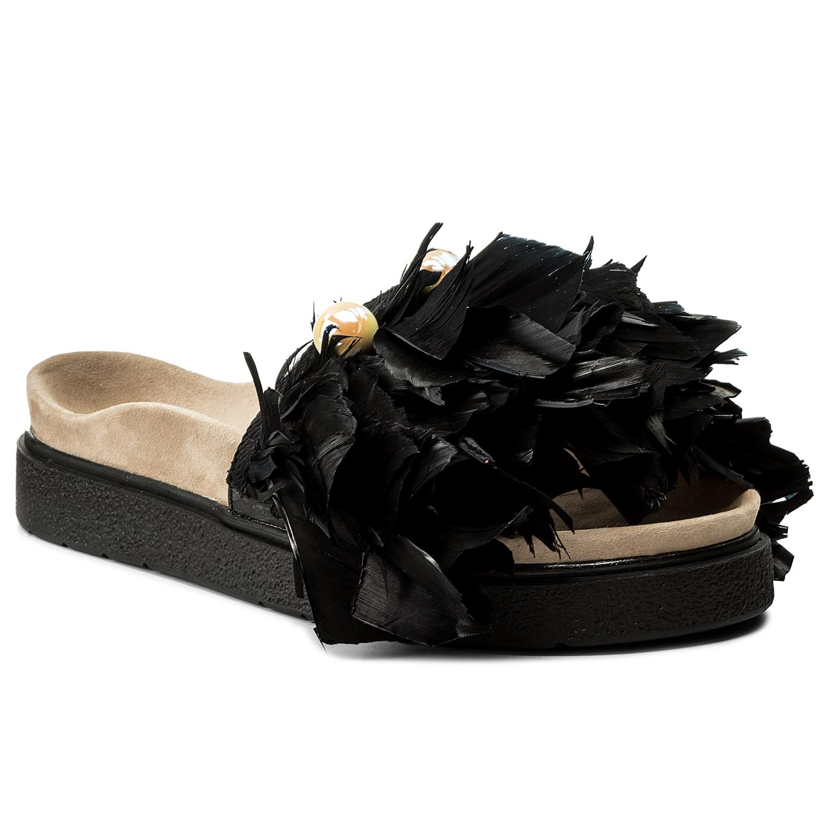 Klapki INUIKII - Pearl Featers 3070 Black