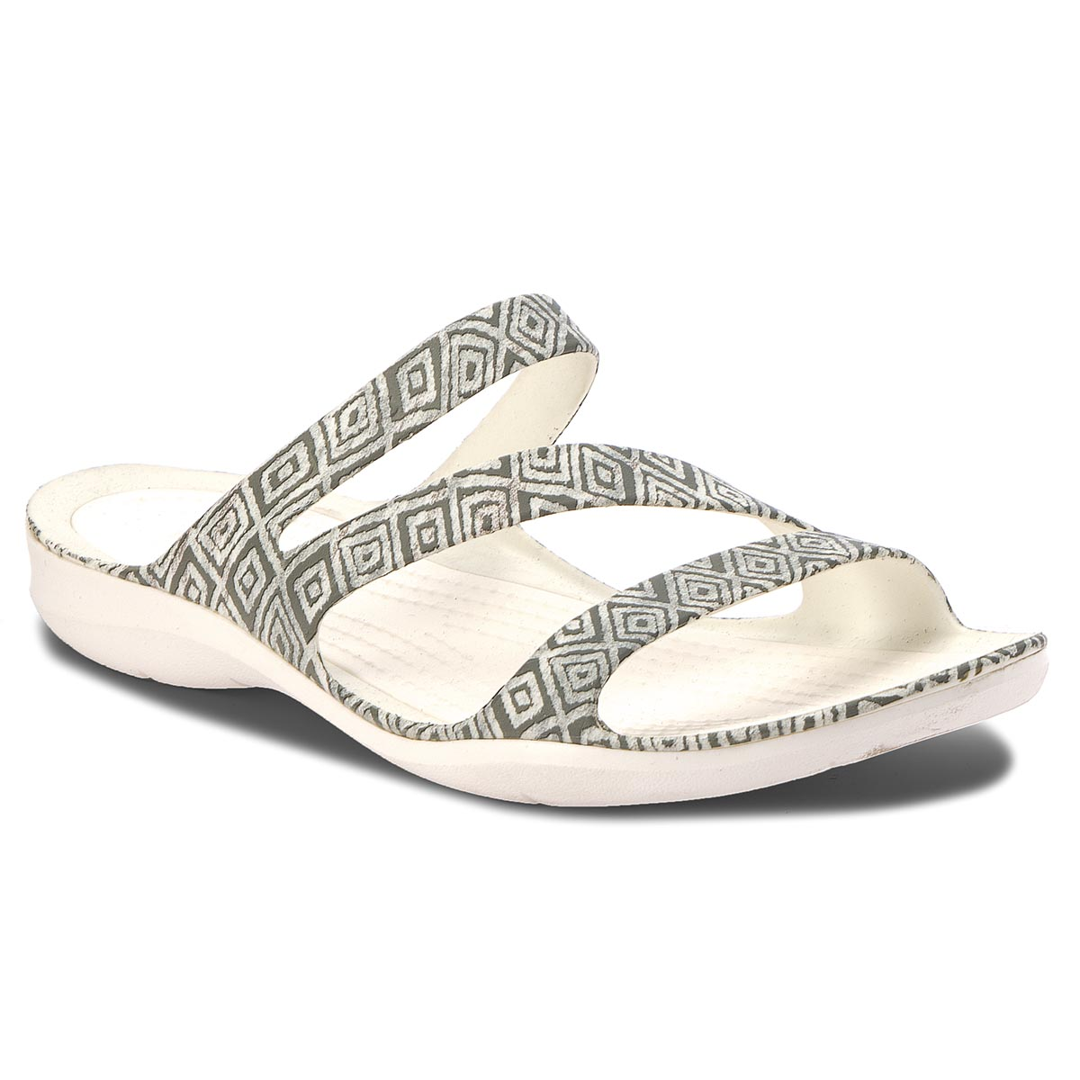 Klapki CROCS - Swiftwater Graphic Sandal W 204461 Grey Diamond/White