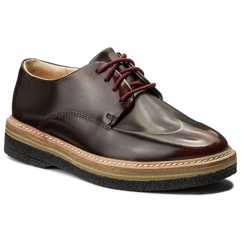 Oxfordy CLARKS - Zante Zara 261266494 Burgundy Leather