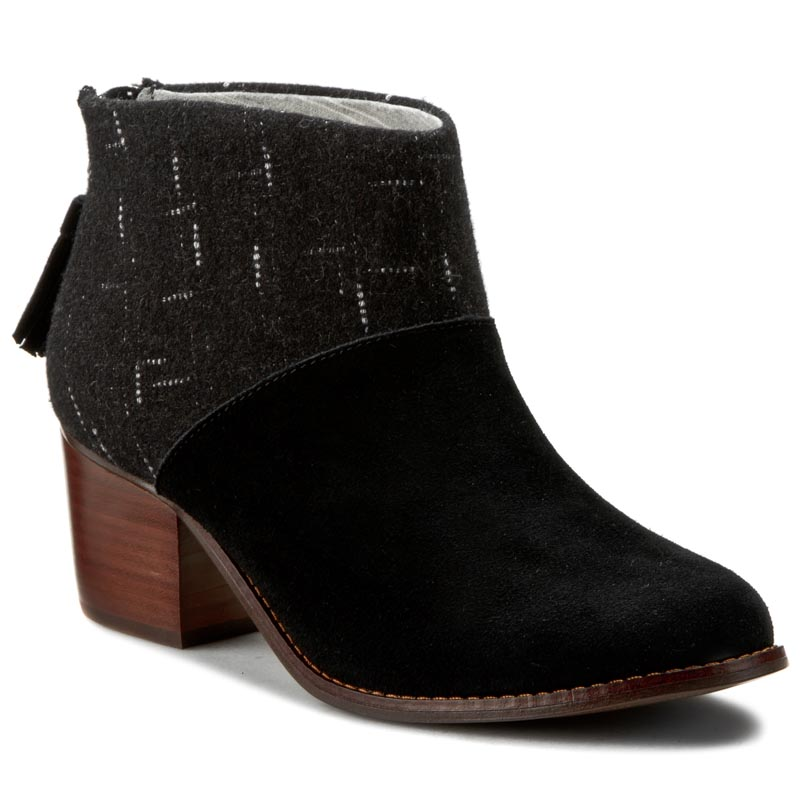 Botki TOMS - Leila 10008897 Black Suede/Dotted Wool