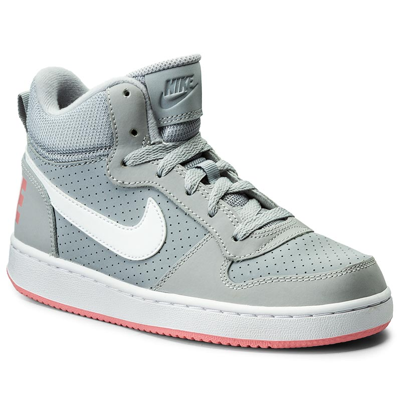 Buty NIKE - Court Borough Mid (Gs) 845107 001 Wolf Grey/Bright Melon