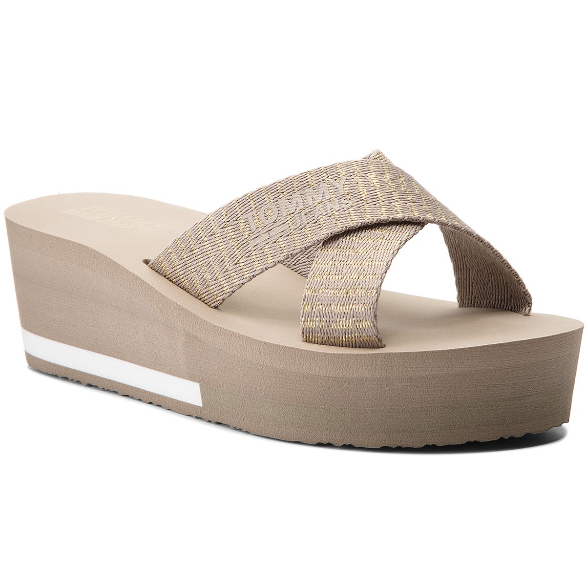 Klapki TOMMY JEANS - Sporty Mid Beach Sandal EN0EN00068 Light Gold 708