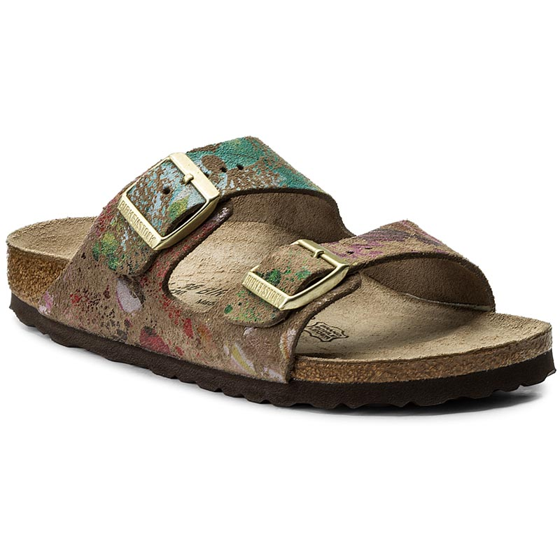 Klapki BIRKENSTOCK - Arizona 652793 Flower Crush Taupe