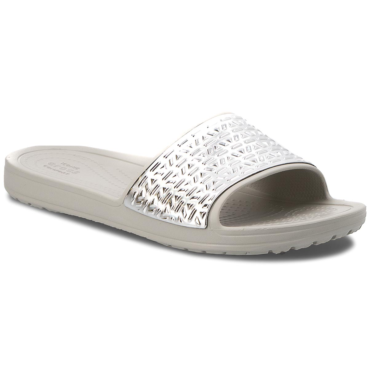 Klapki CROCS - Sloane Graphic Etched Slide W 205130  Pearl White/Silver