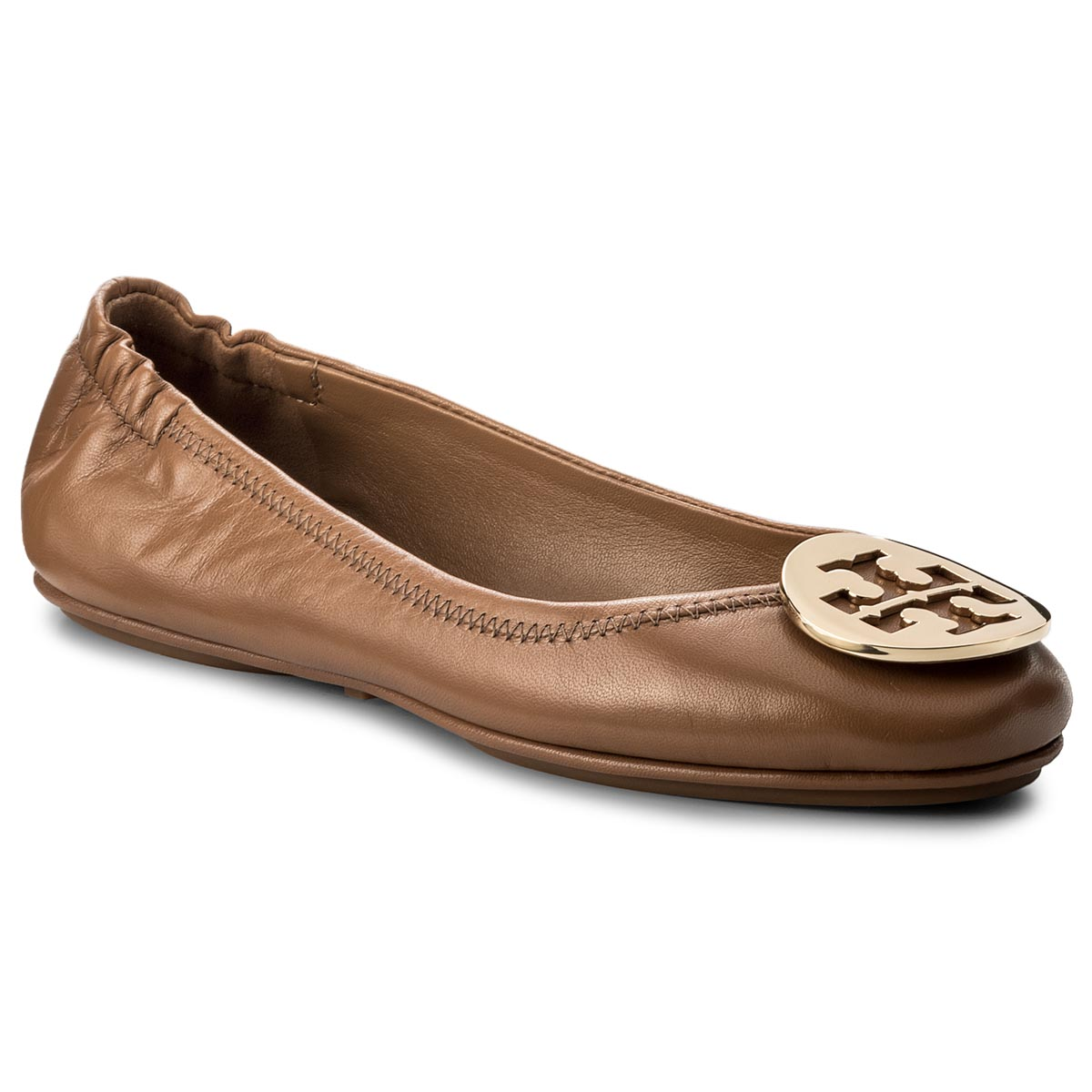 Baleriny TORY BURCH - Minnie Travel Ballet With Metal Logo 32880 Royal Tan/Gold 232