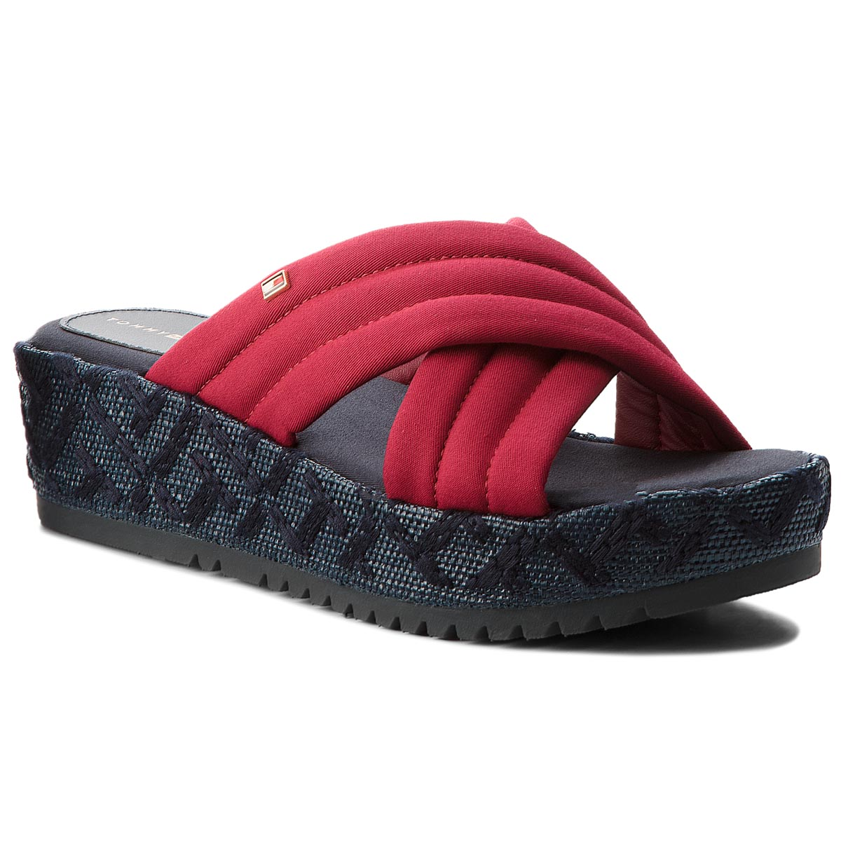 Klapki TOMMY HILFIGER - Th Pattern Flatform FW0FW02785 Scooter Red 614