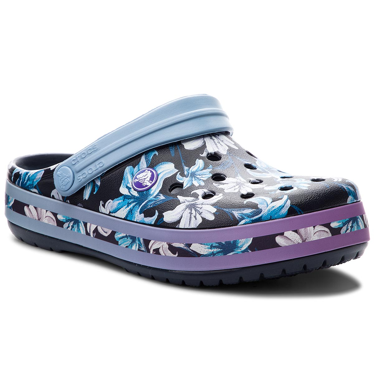 Klapki CROCS - Crocband Graphic III Clog 205330 Tropical Floral/Navy
