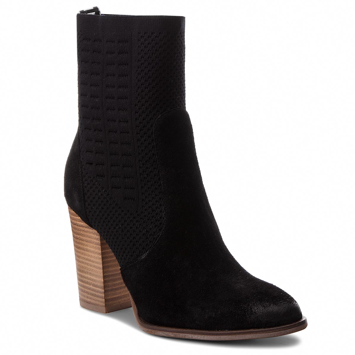 Botki TOMMY HILFIGER - Knit Heeled Boot FW0FW02941  Black 990