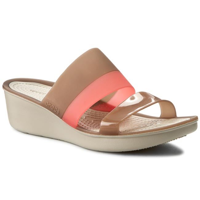 Klapki CROCS - Colorblock Wedge W 200031 Bronze