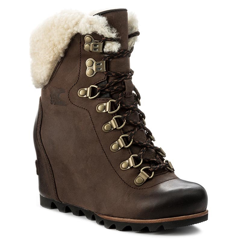 Botki SOREL - Conquest Wedge Shearling NL2699 Tobacco/Black 256