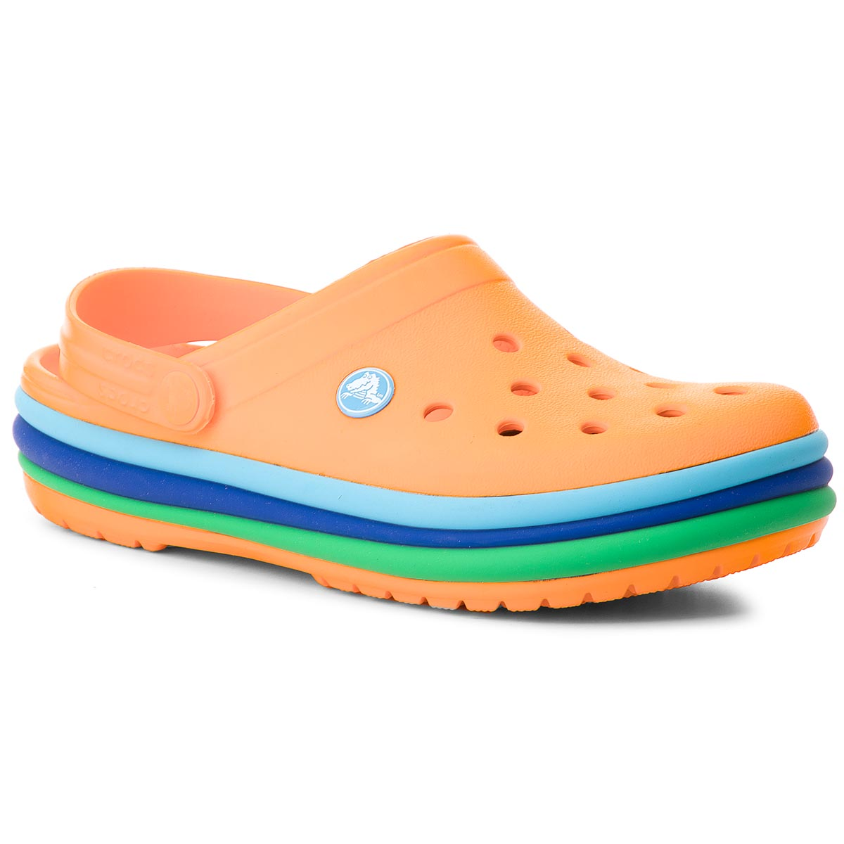 Klapki CROCS - Cb Rainbow Band Clog 205212 Blazing Orange