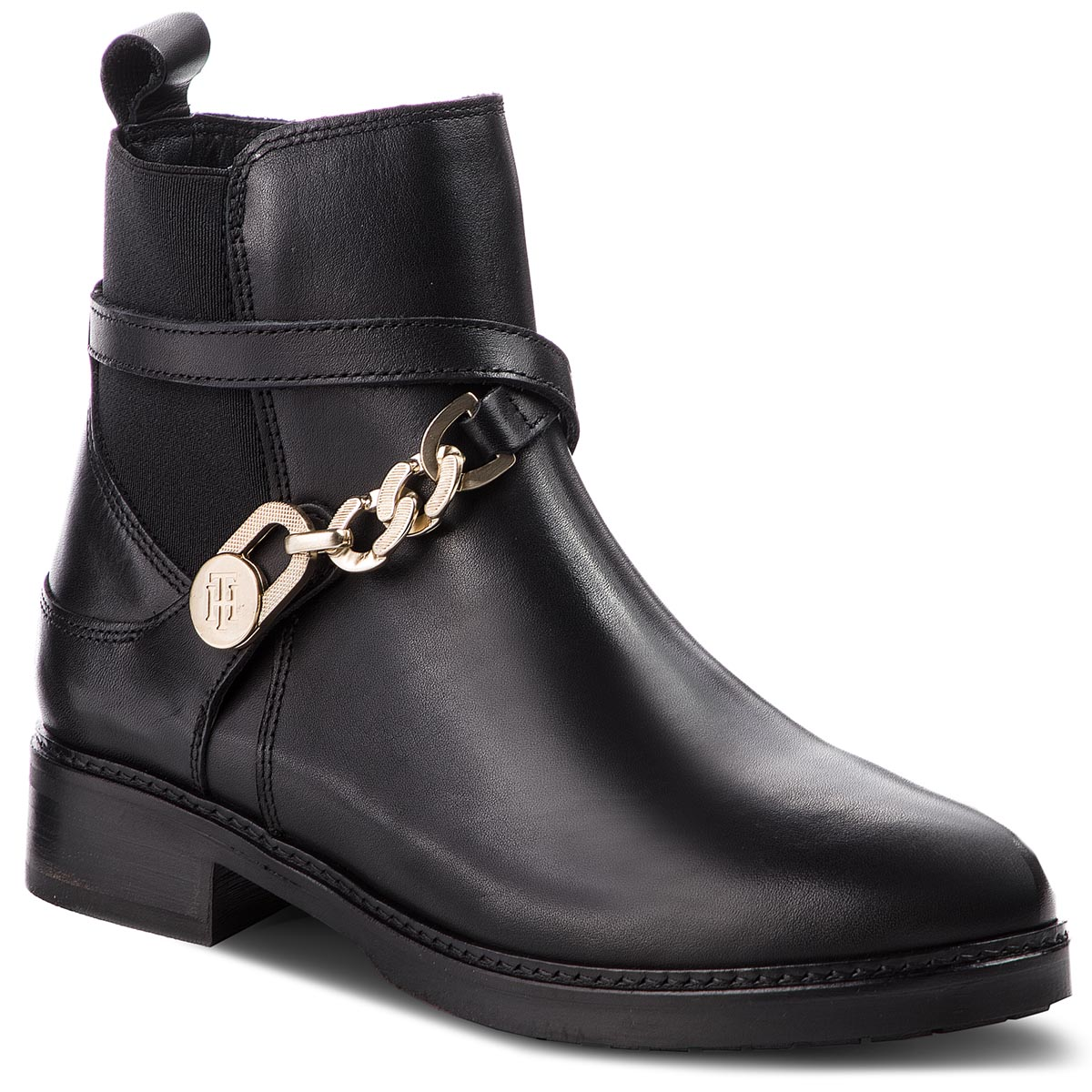 Sztyblety TOMMY HILFIGER - Th Chain Bootie Leat FW0FW03311 Black 990
