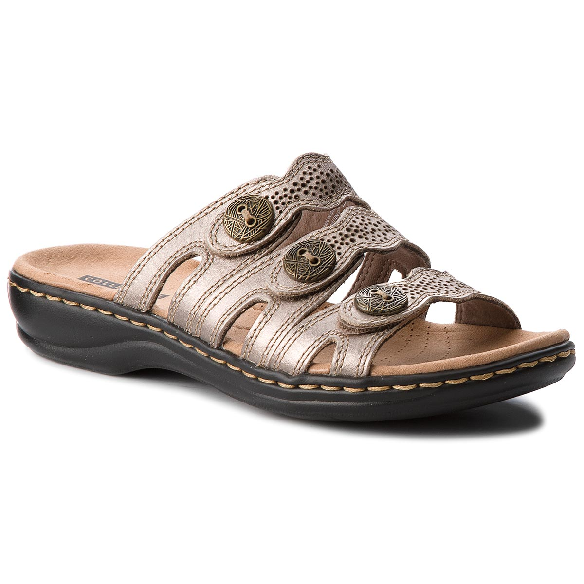 Klapki CLARKS - Leisa Grace 261341124 Pewter Metallic