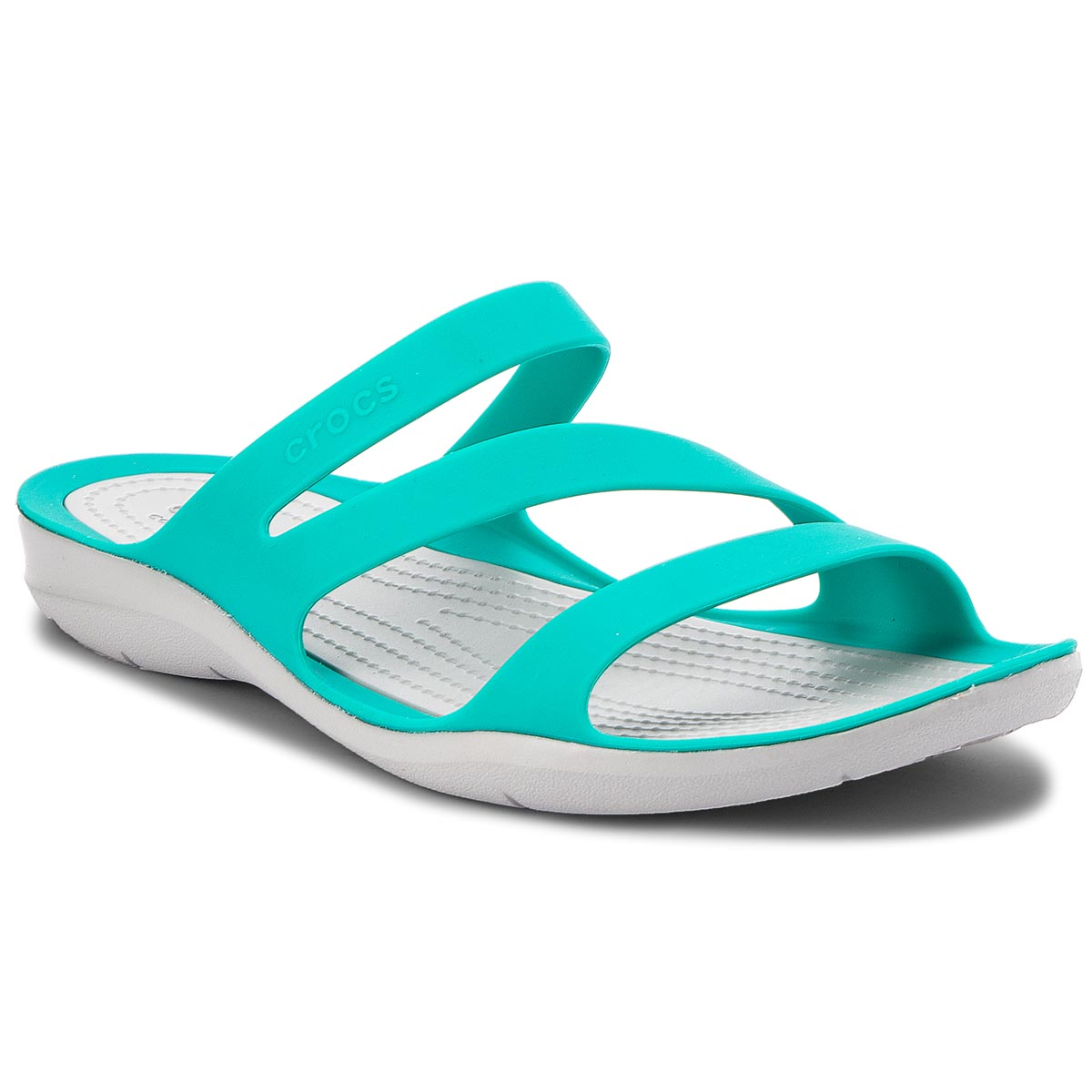 Klapki CROCS - Swiftwater Sandal W 203998 Tropical Teal/Light Grey