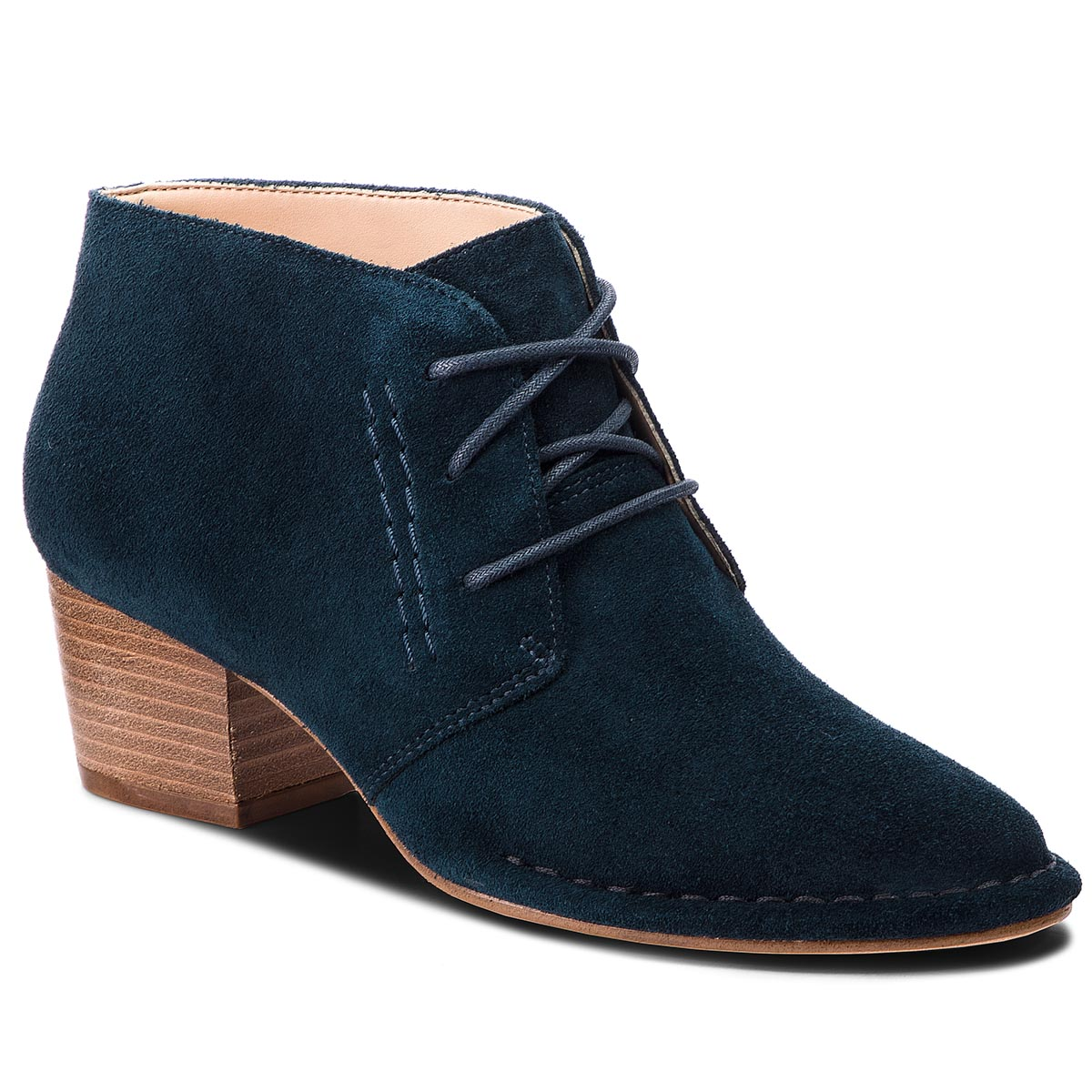 Botki CLARKS - Spiced Charm 261366594 Teal Suede