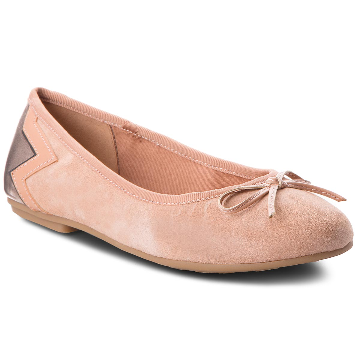 Baleriny TOMMY HILFIGER - Elevated Suede Ballerina FW0FW03036 Silky Nude 297