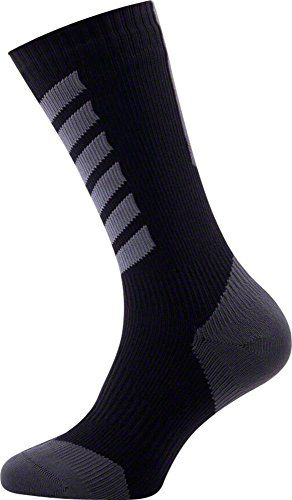 SEALSKINZ SS/ skarpety/ U'S MTB Mid Mid with Hydrostop, Black/ Charcoal/ Anthracite, M - 11116170501020