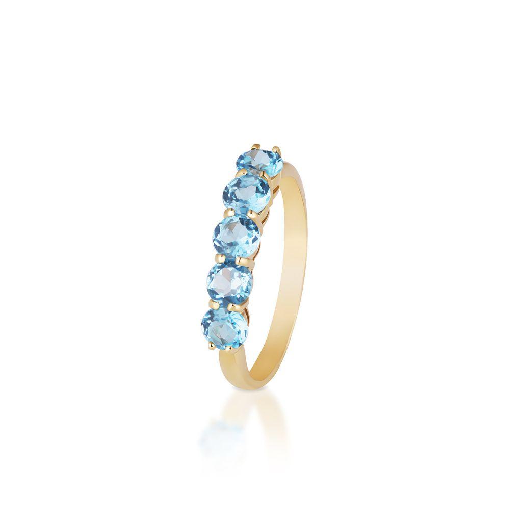W.KRUK Pierścionek Złoty – złoto 375, Topaz swiss blue – ZHH/PT01